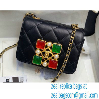 Chanel Calfskin and Crystal Pearls Small Flap Bag AS2251 Black/Red/Green 2020