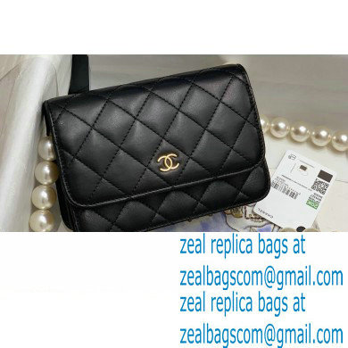 Chanel Calfskin and Pearls Mini Wallet on Chain WOC Bag AP1839 Black 2020
