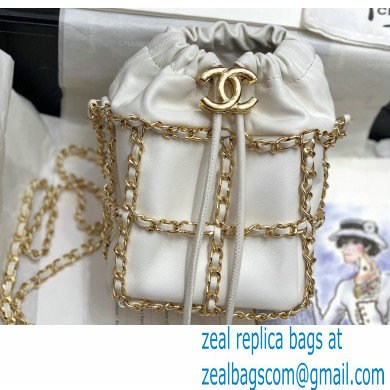 Chanel Drawstring Bucket Mini Bag White with Chains 2020