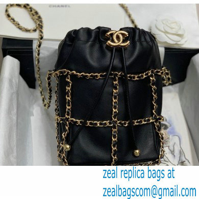 Chanel Drawstring Bucket Small Bag Black with Chains 2020