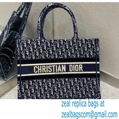 Dior Small Book Tote Bag in Oblique Embroidered Velvet Blue 2020