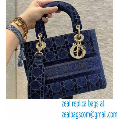 Lady Dior Medium D-Lite Bag in Cannage Embroidered Velvet Blue 2020