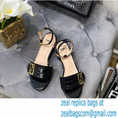 Fendi Crocodile-embossed Leather Promenade Sandals Black with FF Baguette Buckle 2021