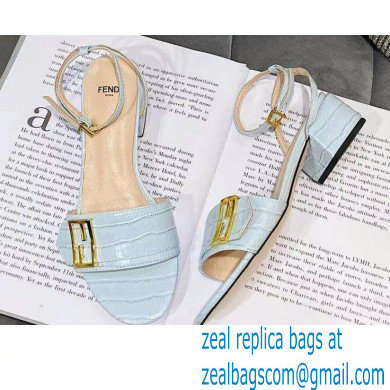 Fendi Crocodile-embossed Leather Promenade Sandals Light Blue with FF Baguette Buckle 2021