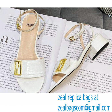 Fendi Crocodile-embossed Leather Promenade Sandals White with FF Baguette Buckle 2021