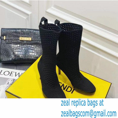 Fendi Elasticated Lace Promenade Ankle Boots Black 2021
