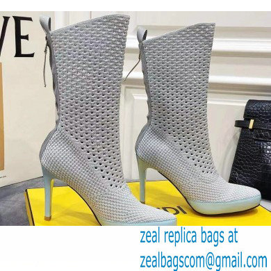 Fendi Elasticated Lace Promenade Ankle Boots Light Gray 2021