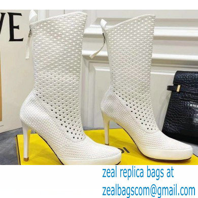Fendi Elasticated Lace Promenade Ankle Boots White 2021