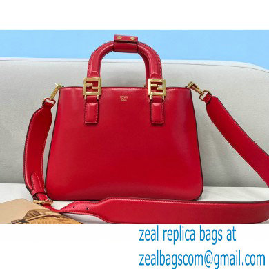 Fendi Leather FF Tote Small Bag Red 2021