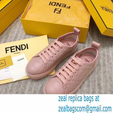 Fendi Rise Leather Flatform Sneakers Pink with All-over Embossed FF 2021