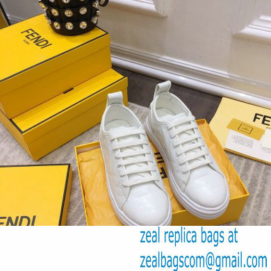 Fendi Rise Leather Flatform Sneakers White with All-over Embossed FF 2021