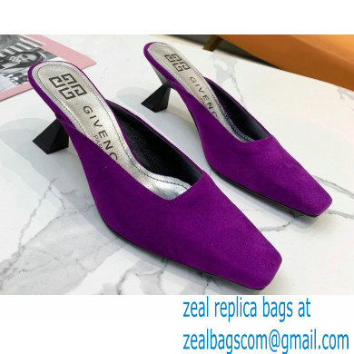 Givenchy Asymmetrical Heel 6.5cm Mules Purple 2021