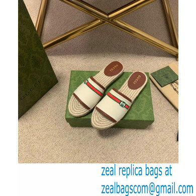 Gucci Interlocking G and Web Embroidered Canvas Espadrilles Slides White 2021