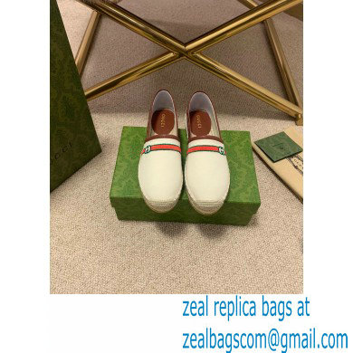 Gucci Interlocking G and Web Embroidered Canvas Espadrilles White 2021