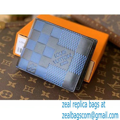 Louis Vuitton Damier Infini 3D Leather Multiple Wallet N60440 Blue 2021