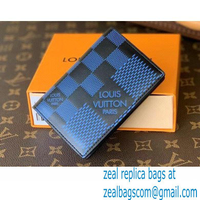 Louis Vuitton Damier Infini 3D Leather Pocket Organizer Wallet N60439 Blue 2021