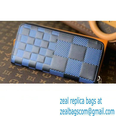 Louis Vuitton Damier Infini 3D Leather Zippy Wallet Vertical N60442 Blue 2021