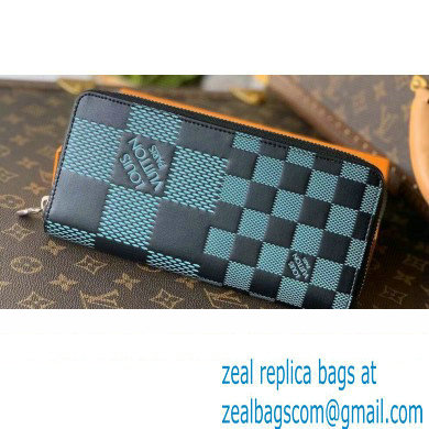 Louis Vuitton Damier Infini 3D Leather Zippy Wallet Vertical N60442 Green 2021