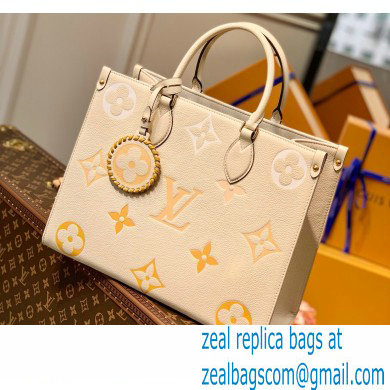 Louis Vuitton Monogram Empreinte Leather OnTheGo MM Tote Bag M45717 Cream/Saffron By The Pool Capsule Collection 2021