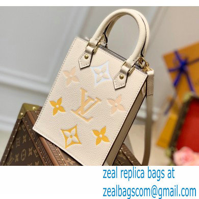 Louis Vuitton Monogram Empreinte Leather Petit Sac Plat Bag M80449 Cream/Saffron By The Pool Capsule Collection 2021