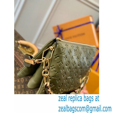 Louis Vuitton Monogram-embossed Lambskin Coussin MM Bag M57782 Khaki Green 2021