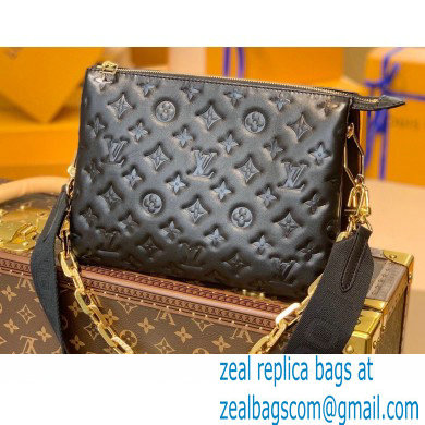 Louis Vuitton Monogram-embossed Lambskin Coussin PM Bag M57790 Black 2021