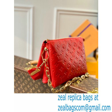 Louis Vuitton Monogram-embossed Lambskin Coussin PM Bag M57792 Red 2021