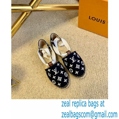 Louis Vuitton Monogram-embroidered Canvas Starboard Flat Espadrilles Black 2021