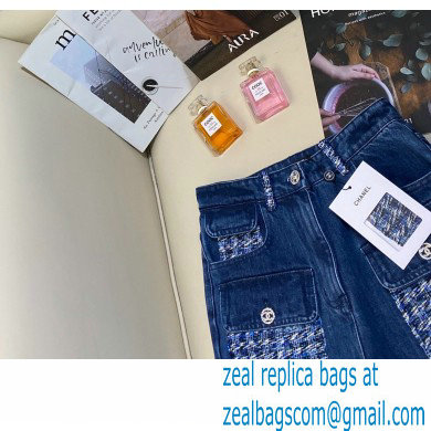 chanel tweed jeans blue 2021